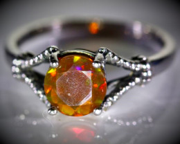 Orange Opal .81ct Solid 925 Sterling Silver Ring