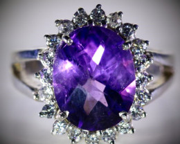 Amethyst 7.40ct Solid 925 Sterling Silver Cocktail Ring