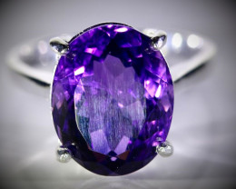 Amethyst 6.52ct Platinum Finish Solid 925 Sterling Silver Ring