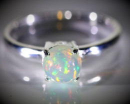 White Opal 1.10ct Platinum Finish Solid 925 Sterling Silver Ring