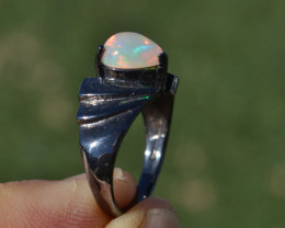 Fine Opal Solitaire in Sterling Silver Ring -- Size 8