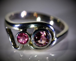 Rubellite .75ct Platinum Finish Solid 925 Sterling Silver Ring