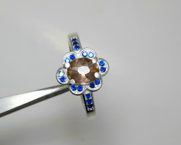 Natural 18.00 Carats rare axinite with cz 925 Silver Ring,