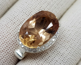 Natural Champagne Topaz 40.00 Carats 925 Silver Ring