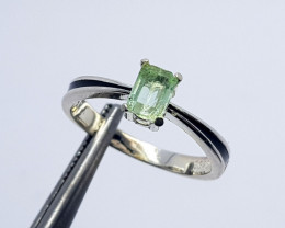 Natural Green Peridot Solitaire Ring 925 Sterling Silver