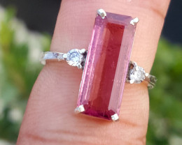 Gorgoues Natural Pink Tourmaline with CZ Ring.
