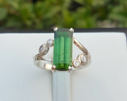 Natural Green tourmaline Ring with CZ.