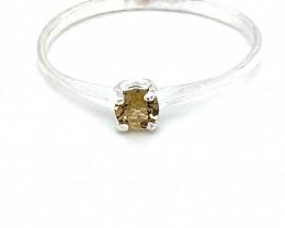 Golden Tourmaline .30ct Platinum Finish Solid Silver Ring