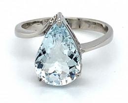 Aquamarine 2.80ct Solid 18K White Gold Ring