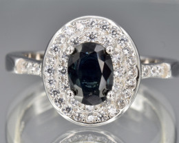 Natural Dark Blue Sapphire, CZ and 925 Silver Ring