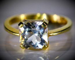 Aquamarine 3.01ct Solid 22K Yellow Gold Ring