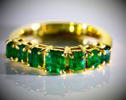 Emerald 2.10ct Solid 22K Yellow Gold Multistone Ring