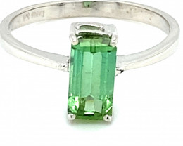 Green Tourmaline 2.10ct Solid 18K White Gold Ring