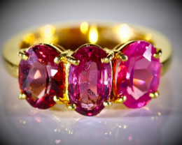 Mahenge Spinel 4.15ct Solid 22K Yellow Gold Multistone Ring