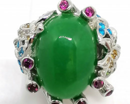 Jadeite Jade and Multicolored Gemstone Ring 15.85 TCW