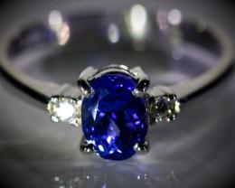 Tanzanite 1.80ct Natural Diamonds Solid 18K White Gold Multistone Ring