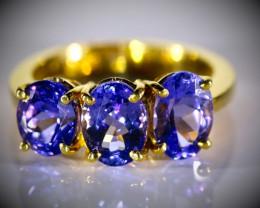 Tanzanite High Grade 4.28ct Solid 22K Yellow Gold Multistone Ring