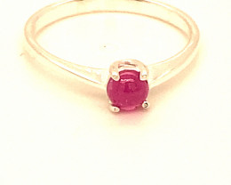 Pink Sapphire .52ct Platinum Finish Solid 925 Sterling Silver Ring