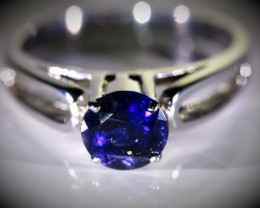 Iolite 1.20ct Platinum Finish Solid 925 Sterling Silver Ring