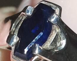 natural blue sapphire silver ring