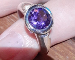 natural amethyst sterling silver ring