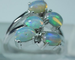 NATURAL ETHIOPIAN OPAL 92.5 STERLING SILVER RING ( 6.50 US )