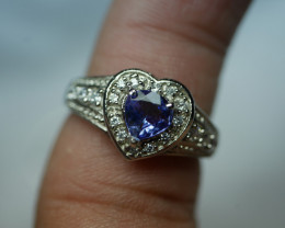 NATURAL MULTY COLOR TANZANITE 92.5  STERLING SILVER RING  ( 6.50 US )