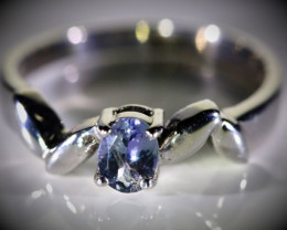 Blue Sapphire .45ct Platinum Finish Solid 925 Sterling Silver Ring