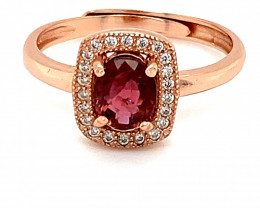 Rubellite .85ct Rose Gold Finish Solid 925 Sterling Silver Ring