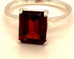 Pyrope Garnet 4.45ct Platinum Finish Solid 925 Sterling Silver Ring