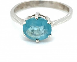 Blue Apatite 2.30ct Platinum Finish Solid 925 Sterling Silver Ring