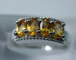 NATURAL BEAUTY  CITRINE 92.5  STERLING SILVER RING ( 6.75 US )