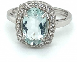 Aquamarine 1.45ct White Gold Finish Solid 925 Sterling Silver Ring