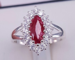 Natural Ruby and CZ Ring