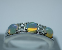 NATURAL ETHIOPIAN WELO OPAL  92.5  STERLING SILVER RING (7.50 US)
