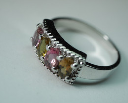 BEAUTY MULTY COLOUR TOURMALINE STERLING SILVER RING 92.5 SIZE ( 7. US )