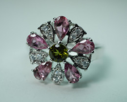 NATURAL MULTY COLOR TOURMALINE STERLING SILVER RING 92.5 SIZE..(7.00 US)