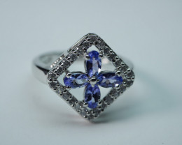 NATURAL TANZANITE STERLING SILVER RING 92.5 SIZE..(7.75 US)
