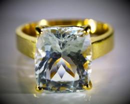 Aquamarine 9.80ct Solid 18K Yellow Gold Ring  8.46g!!