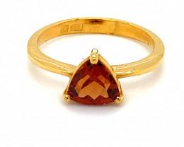 Malaya Garnet 1.68ct Solid 22K Yellow Gold Ring