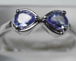 NATURAL TANZANITE  92.5 STERLING  SILVER RING SIZE  (7.00 US)