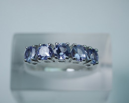 NATURAL TANZANITE ROUND 92.5 SOLID SILVER RING (7.50 US)