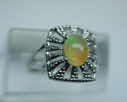 NATURAL ETHIOPIAN OPAL STERLING 92.5 SILVER RING (6.50 US)