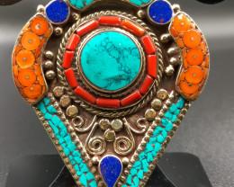 221 Crt Turquoise and Lapis Lazuli Nepali Pendant Brass Materail