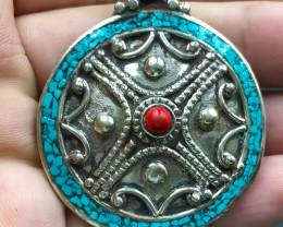 136 Crt Turquoise Nepali Pendant Brass Materail
