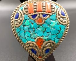 131 Crt Turquoise and Lapis Lazuli Nepali Pendant Brass Materail