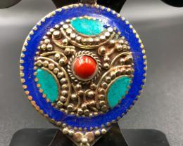 95 Crt Turquoise and Lapis Lazuli Nepali Pendant Brass Materail