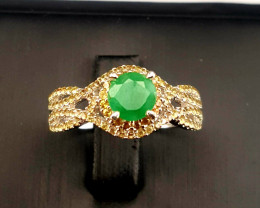 Natural Emerald and Sapphire Ring..