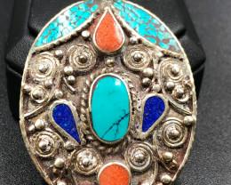 23.2 Crt Turquoise and Lapis Lazuli Nepali Pendant Brass Materail
