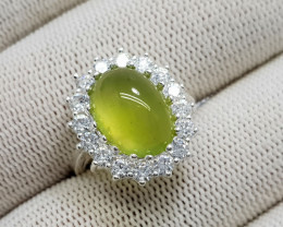 Natural Green Peridot 21.40 Carats 925 Silver Ring N01